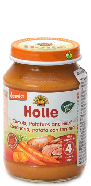 Holle Био бебешко пюре /морков, картоф и говеждо/ 4 м 190 гр.